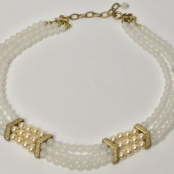 Vintage Three Strand Beaded Choker Necklace / White Semi Opaque Beads / Champagne Gold Faux Pearls / Gold Tone Connector Beads and Chain