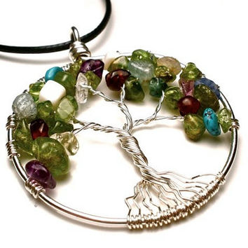 Family Tree of Life Pendant With Birthstones in Sterling Silver- Personalized for You