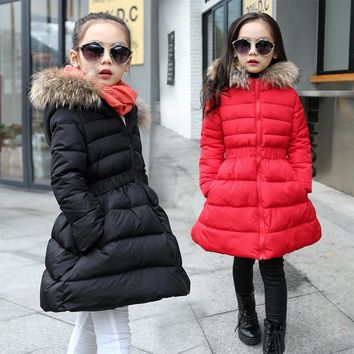 Winter Girl Clothes Children's Thicksuit Warm 80% Cotton Sports Down Jackets Hooded Outerwear Girl Fashion Sport Downs Jacket