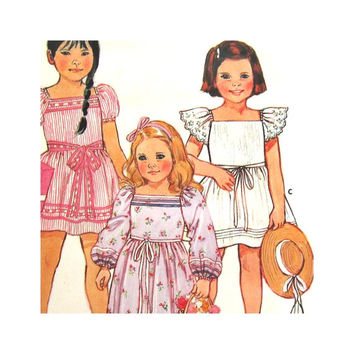 Butterick 6569 Uncut Pattern Girls Pullover Dress or Gown Evening Length Flower Girl Size 5 Vintage