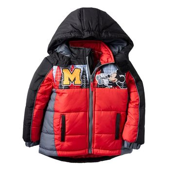 Disney's Mickey Mouse ''It's Fun To Explore'' Puffer Jacket - Toddler Boy, Size: