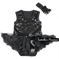 Baby Girls My First Little Black Dress - Sequin Onesuit - Romper - Newborn Girl Tutu Dress with headband set