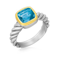 18K Yellow Gold and Sterling Silver Cable Style Ring with a Cushion Blue Topaz: Size 7