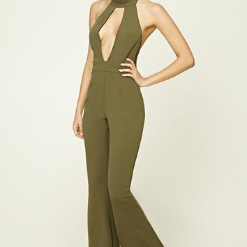 Mock Neck Plunging Jumpsuit