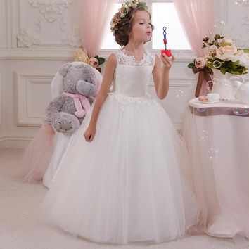 Flower Girl Dresses Hole Ball Gown White Lace Sleeveless O Neck Long  Wedding Pageant First Communion Dresses for Little Girls