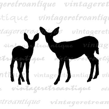 Printable Deer Graphic Deer Silhouettes Digital Image Download Antique Animal Artwork Digital Vintage Clip Art Jpg Png Eps HQ 300dpi No.2115