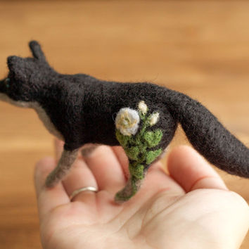 Black and Grey Moonflower Fox, Needle Felted Soft Sculpture, Felt Fox, Botanical, Floral, Fall, Winter, Autumn, Nature Inspired, Woodland