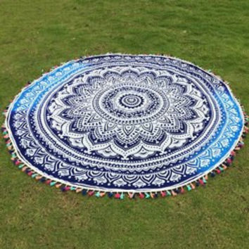 Colorful Tassel Lotus Flower Totem Wall Hanging Yoga Mat Gypsy Cotton Tablecloth Round Beach Throw