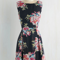 Mid-length Sleeveless A-line Floral Phenomenon Dress