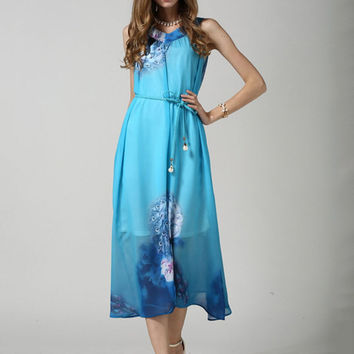 Blue Bohemian Print Sleeveless Chiffon Maxi Dress with Belt