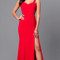 V-Neck Long Red Prom Dress with Lace-Up Sides