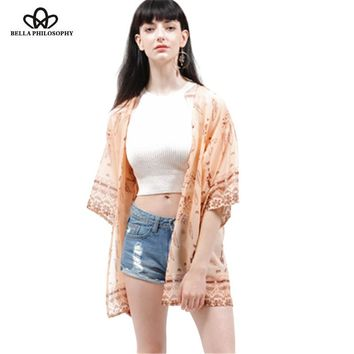 Summer beach ethnic dream catcher feather print kimono shirt bikini cover up real photo