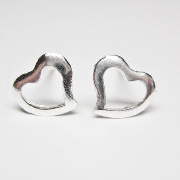 Tiny Minimalist Sterling Heart Stud Earrings