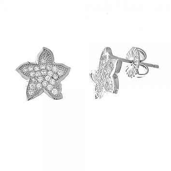 Sterling Silver 02.176.0031 Stud Earring, Star Design, with White Micro Pave, Polished Finish, Rhodium Tone