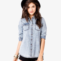 Dotted Grid Denim Shirt | FOREVER 21 - 2038589115