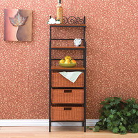 6-Tier Durable Black Metal Baker's Rack with 3 Rattan Basket Drawers