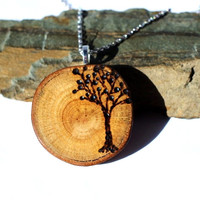 Wooden Pendant Tree of Life Necklace Wood Burned Tree Reclaimed Oak Branch Wood Eco Friendly Jewelry by Hendywood