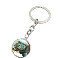 CHESHIRE CAT KEYCHAIN ART GLASS ROUND DOME PENDANT KEY CHAIN ALICE IN WONDERLAND KEY RING NEW WOMEN MEN GIFT SLEUTELHANGER