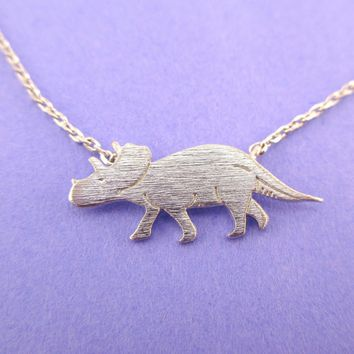 Triceratops Dinosaur Silhouette Jurassic World Themed Charm Necklace in Silver
