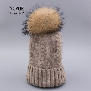 YCFUR Fashion Women's Beanies Hats Winter Warm Knit Sheep Wool Caps Genuine Raccoon Dog Fur Pom Hat Ear Protect chapeau headgear