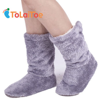 ToLaiToe  Home Soft Plush Home Shoes Slippers Coral Fleece Indoor Floor Sock Indoor Slipper Winter Foot Warmer Best