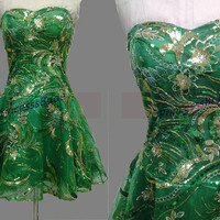 Short green tulle homecoming gowns with sequins,2014 unique cute women dresses for party hot,chic cheap prom dresses under 100.