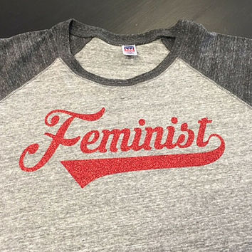 Feminist Baseball Raglan T-Shirt Free Shipping Red Sparkle