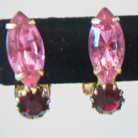 Vintage Pink Red Navette Clip On Earrings Marquise Hollywood Regency Costume Jewelry Gold Tone