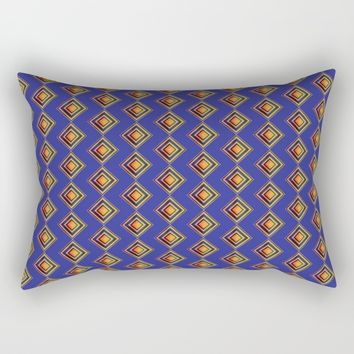 Geometric Blue and Golden Shapes Pattern Rectangular Pillow by Paula Oliveira