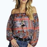 Miranda Paisley Woven Off The Shoulder Top
