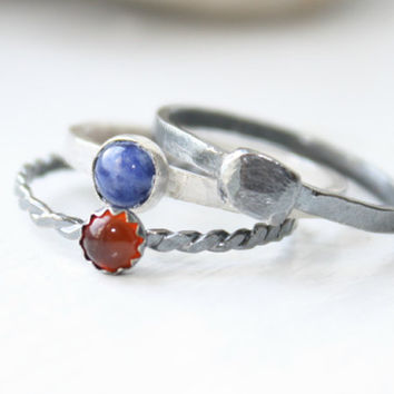 Three SlenderStacking Gemstone Rings, Sodalite, Carnelian, Sterling Silver Bands