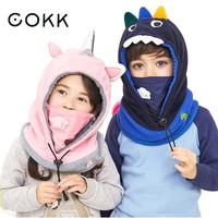 COKK Kids Winter Hat Mask Knit Beanie Hats for Girl Baby Boy Hat Children Cartoon Warm Ear Protect Cap Balaclava Gorros Scarf