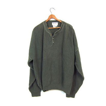 Oversized Army Green Sweater Loose Fit Henley Sweater Slouchy Boyfriend Pullover Cotton Rib Knit Sweater Soft Ribbed Sweater Grunge Men's XL