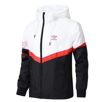 Adidas jacket new casual coat sports windbreaker White/Black