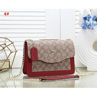 Coach New fashion pattern leather chain shoulder bag women 4#