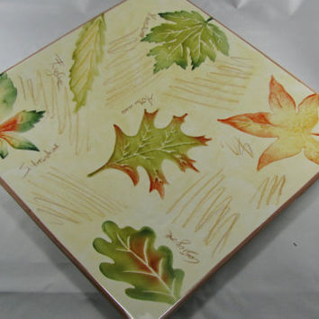 Italian Ceramic Pretty Square Platter, Hand Decorated Autumn Leaves, Vintage Gift For Her, 1980s, Perfect Bridal Shower Gift, Kitchen Decor