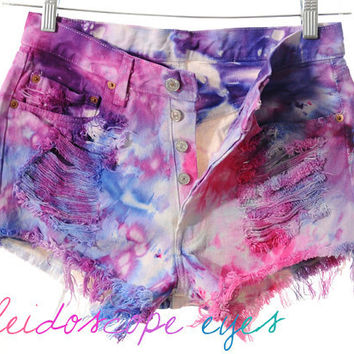 Vintage Levis 501 High Waist Colorful  MARBLED Dyed Denim Cut Off Shorts M