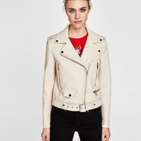 FAUX LEATHER BIKER JACKET DETAILS