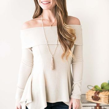 Nothing Quite Like You Off Shoulder Top- Oatmeal