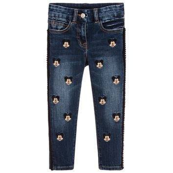 MONNALISA Mickey Mouse Embroidered Jeans Pants