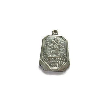 Saint Christopher Medal . Vintage French Religious Medallion . Silvered Charm from France .