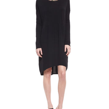 Long-Sleeve Mixed-Fabric Knee-Length Dress, Petite, Size:
