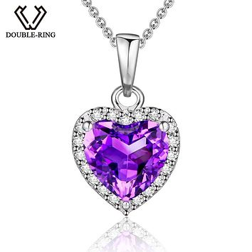 DOUBLE-R Natural Amethyst Heart Pendant 925 sterling silver jewelry Necklaces&Pendants Gemstone fine wedding Jewelry for women