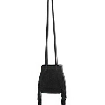 BLACK SUEDE FRINGE BUCKET BAG