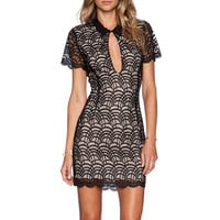 Black Lace Fish Scale Pattern Cutout Short Sleeve Bodycon Mini Dress
