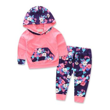 Toddler Infant Baby Girl Winter Floral Splice Hoodie Tops+Pants Outfits Clothes Set Cute Baby Hooded Casual Clothing Set