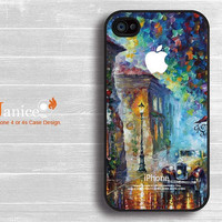 iphone case iphone 4s case iphone 4 case iphone 4 cover painting rain and tree car street unique Iphone case design