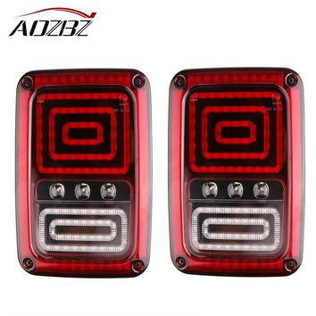 AOZBZ Snake Style Car LED Right/Left Rear Turn Signal Tail Light For 2007-2016 Jeep Wrangler JK With Brake Turning Reverse Light