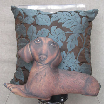 Dachshund Dog Pillows, Decorative Throw Pillows, Cushion, Accent Pillows,Pet lovers, Dog Art Pillows, Dog Shaped Pillows