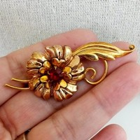 Vtg 1940s Vermeil Plated Flower Pendant Pin Red RS  Petals Leaf Stem